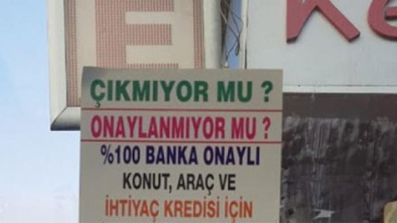 """Otobüs duraklarında, elektrik direklerinde 'tefecilik' ilanları; """"Kredi puanı düşük olanlara kefilsiz kredi"""""""