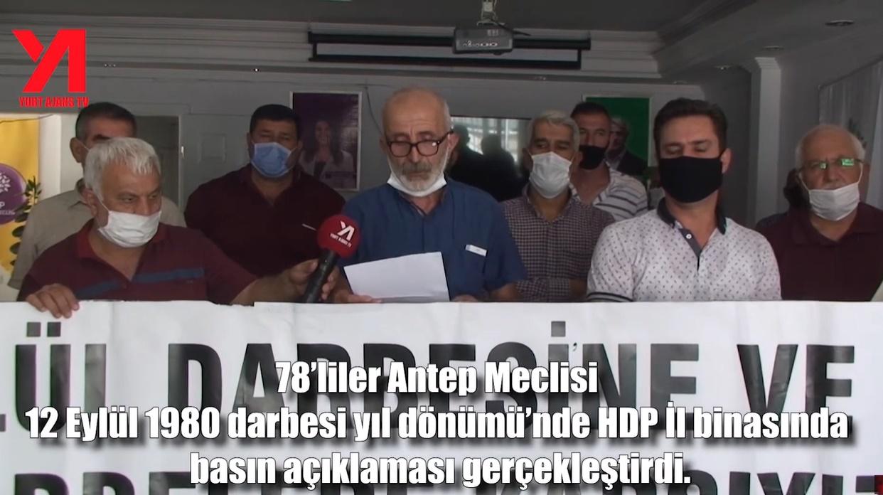 """Gaziantep 78'liler meclisi  """" 12 Eylül'den Tekçi Rejime, Darbeciler Yargılansın! """""""