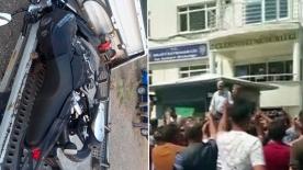 """Polisin motosikletliyi boynundan vurmasının ardından Gümüşhane ilçe emniyet müdürlüğü önünde protesto: """"Katil polis istemiyoruz"""""""